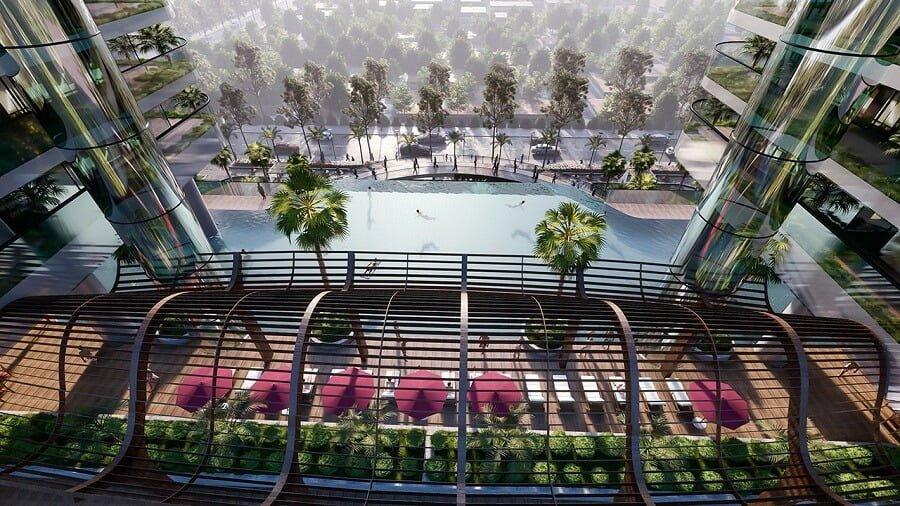Bể bơi vô cực tầng 4