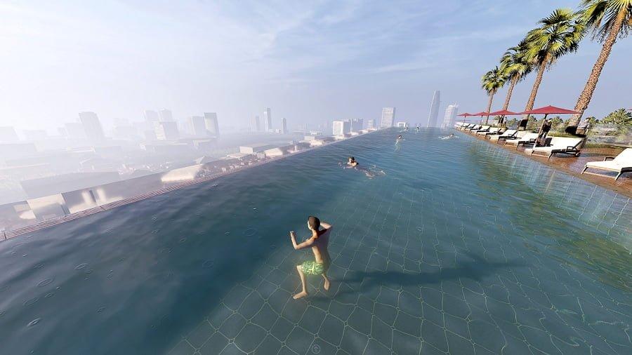 Bể bơi vô cực tầng mái