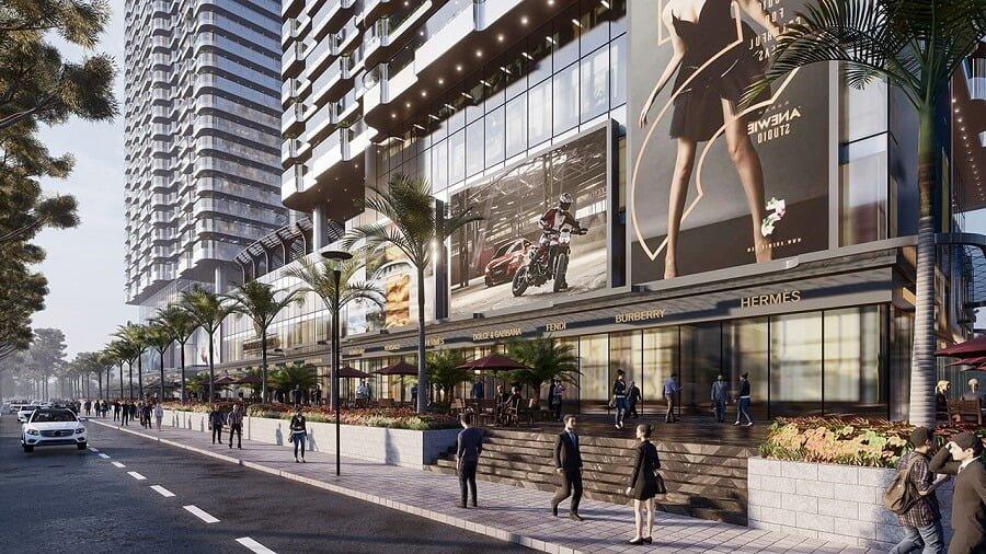 Chuỗi trung tâm thương mại và mua sắp bên dưới dự án