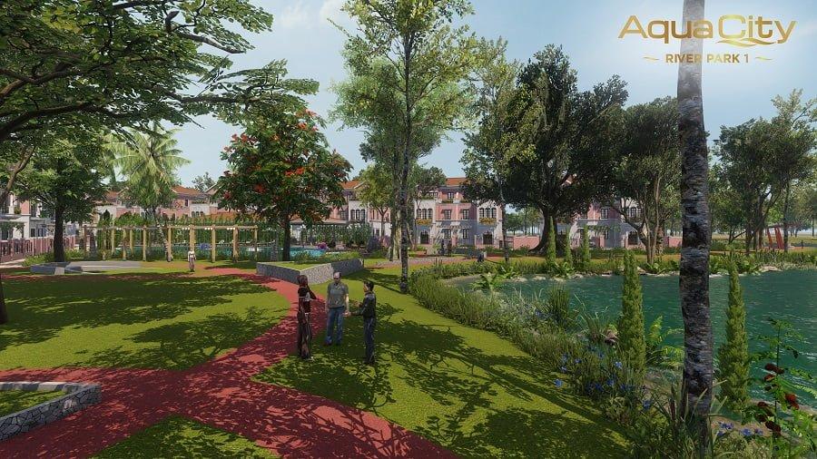 Công viên nội khu xanh mát tại Aqua City