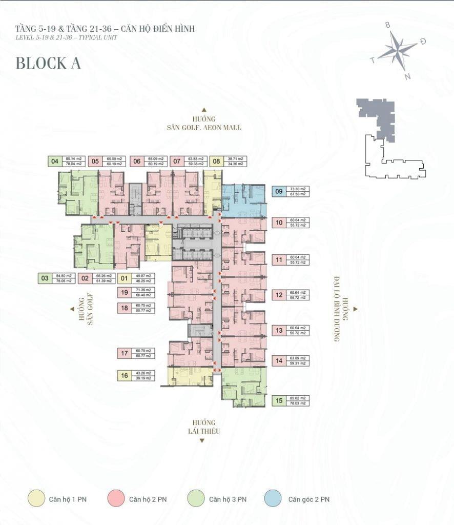 Mặt bằng tầng điển hình từ 5-19 và 21-36 tháp A