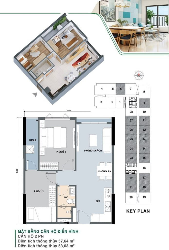Mặt bằng căn hộ 2 PN, 1 WC | Park 3A