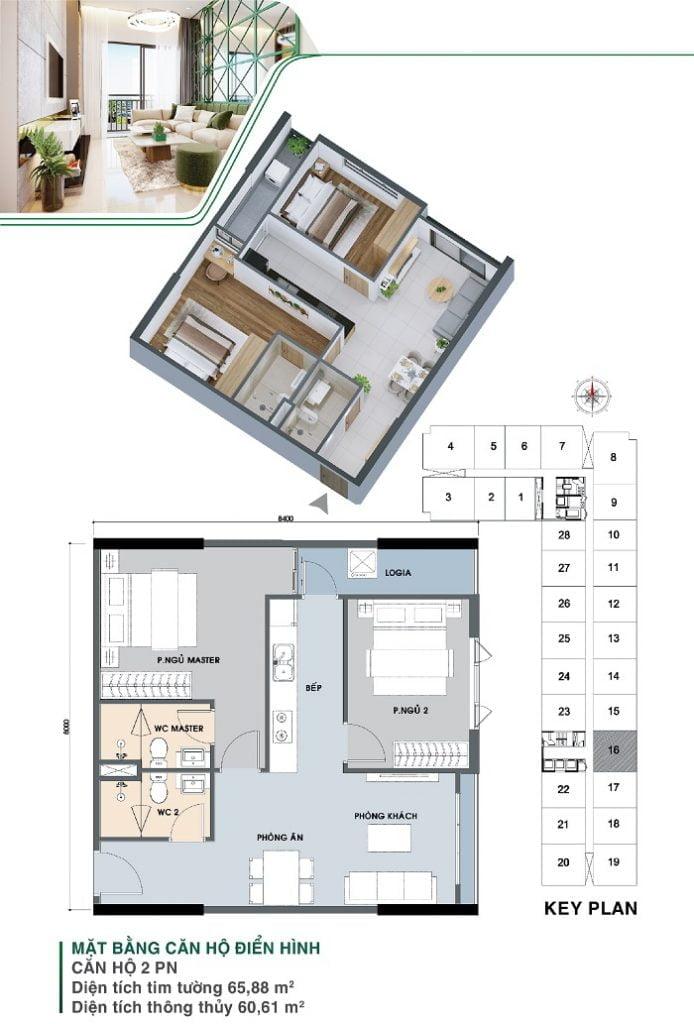 Mặt bằng căn hộ 2 PN, 2 WC | Park 3A