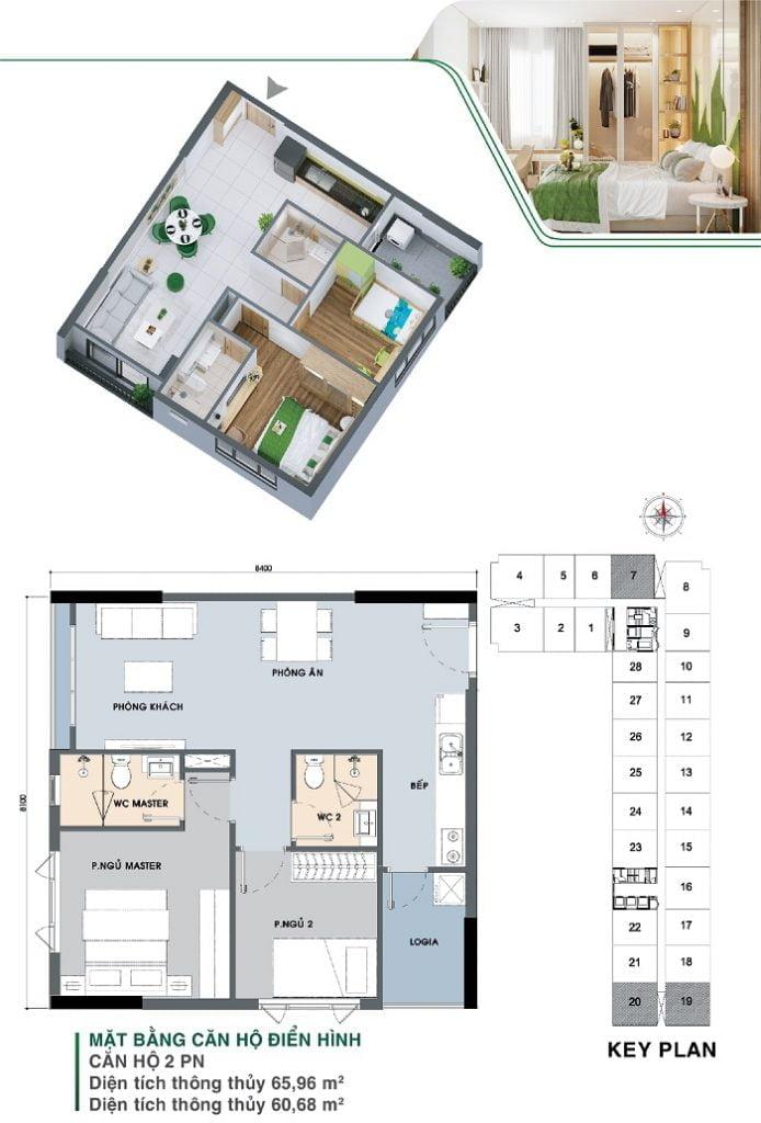 Mặt bằng căn hộ 2 PN, 2 WC, căn góc | Park 3A