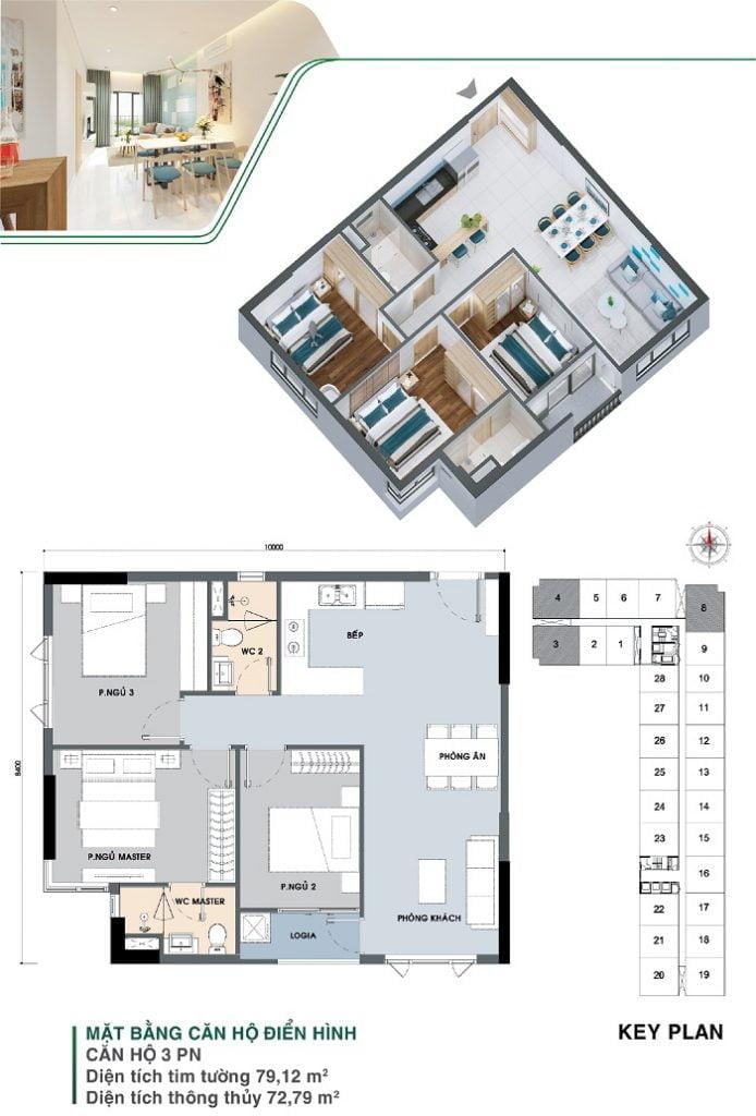 Mặt bằng căn hộ 3 PN, 2 WC, căn góc | Park 3A