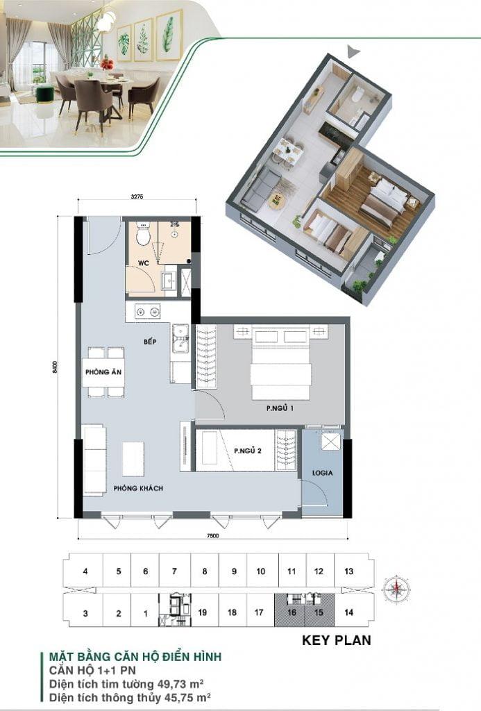 Mặt bằng căn hộ 1 + 1PN | Park 3B