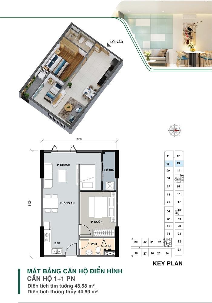 Mặt bằng căn hộ 1 + 1PN | Park 4