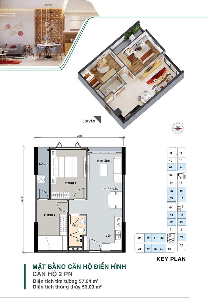 Mặt bằng căn hộ 2 PN, 1 WC | Park 4