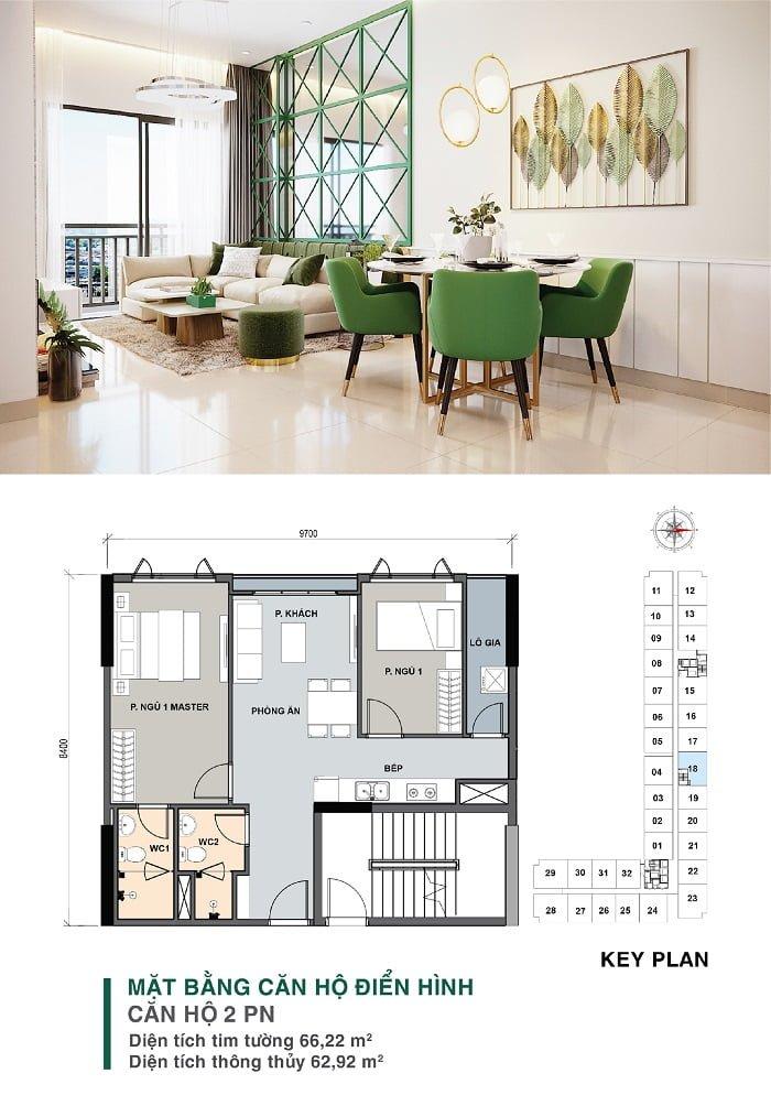Mặt bằng căn hộ 2 PN, 2 WC | Park 4