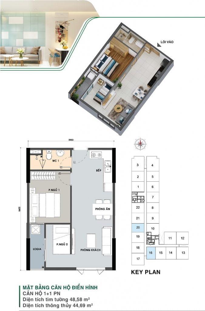 Mặt bằng căn hộ 1 + 1 PN | Park 5