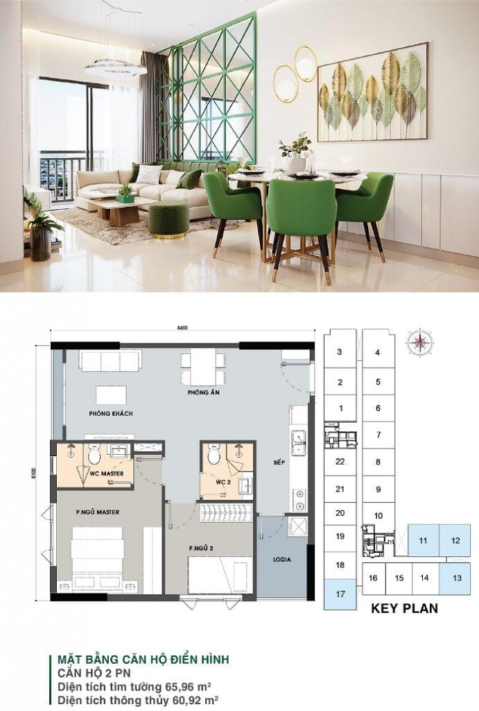 Mặt bằng căn hộ 2 PN, 1 WC (căn góc) | Park 5