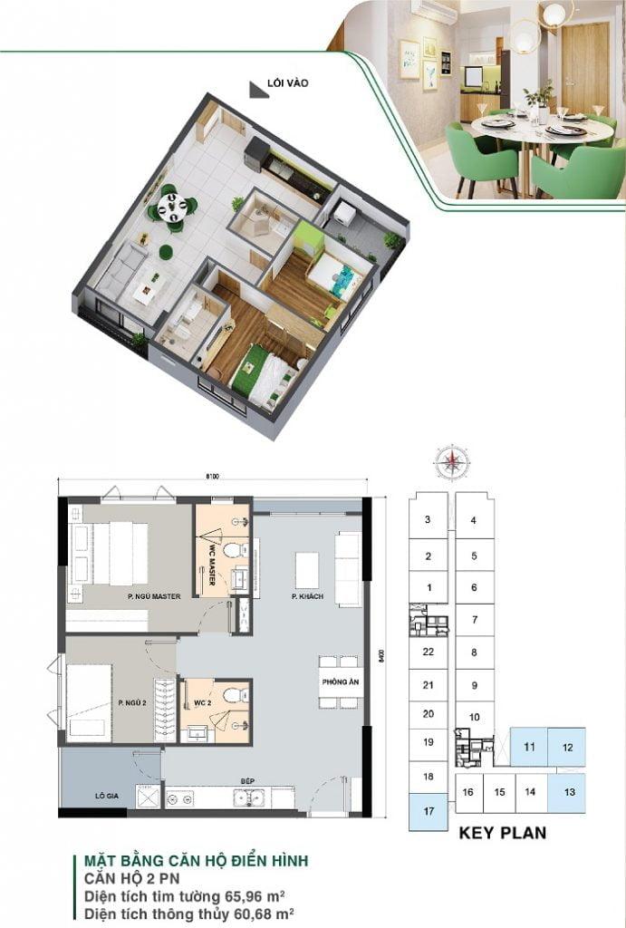 Mặt bằng căn hộ 2 PN, 2 WC | Park 5