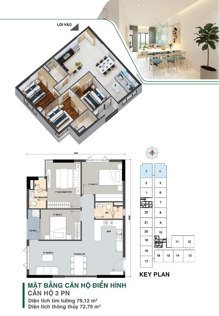 Mặt bằng căn hộ 3 PN, 2 WC | Park 5