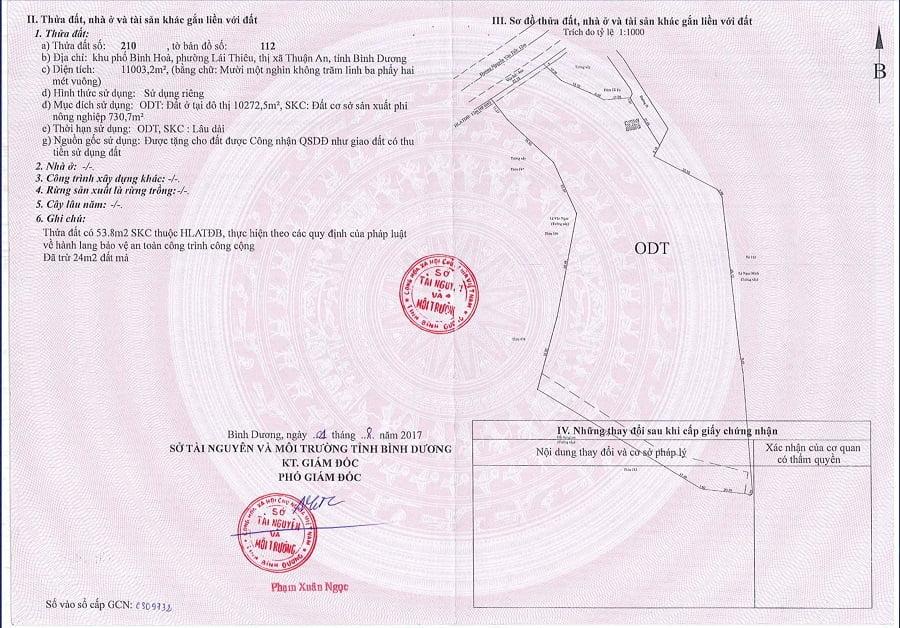 Sổ hồng của khu đất dự án mặt tiền Nguyễn Văn Tiết