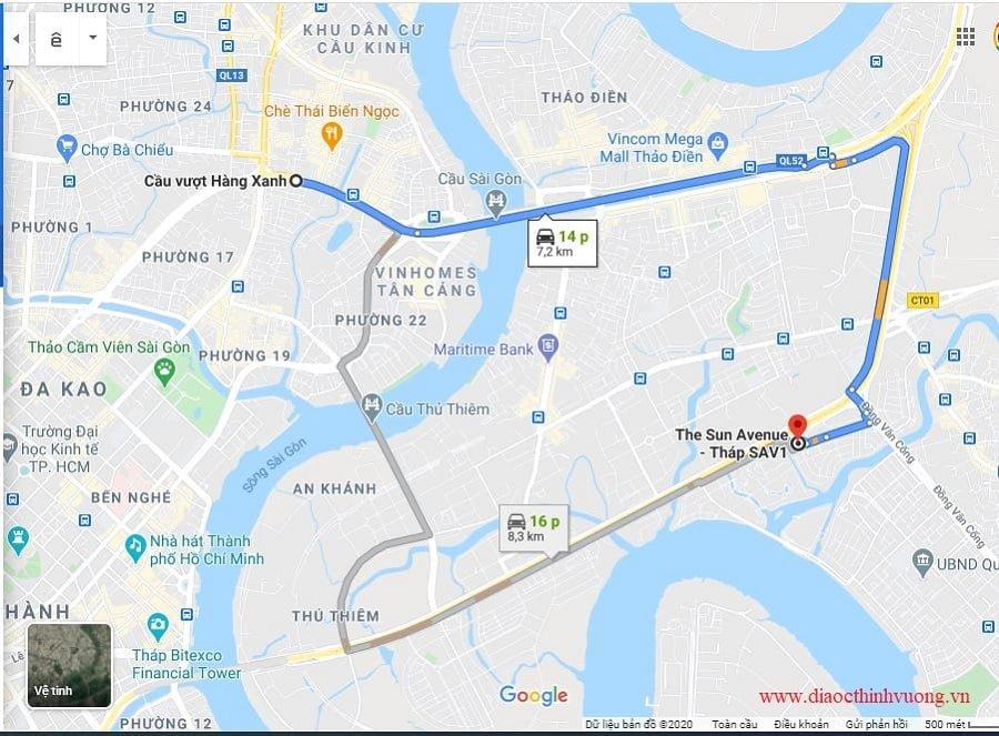 Khoảng cách từ The Sun Avenue về Ngã tư Hàng Xanh Quận Bình Thành chỉ 15 khoảng 15 phút.