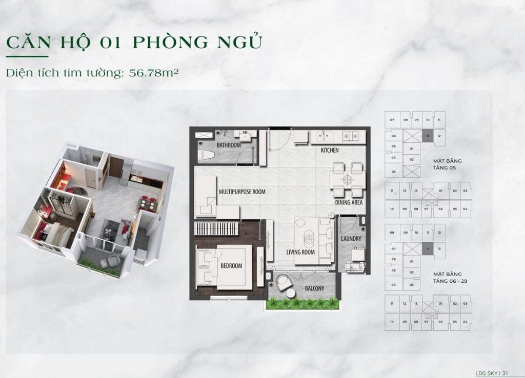 Căn hộ 1PN diện tích 57 m2 tại dự án LDG Sky