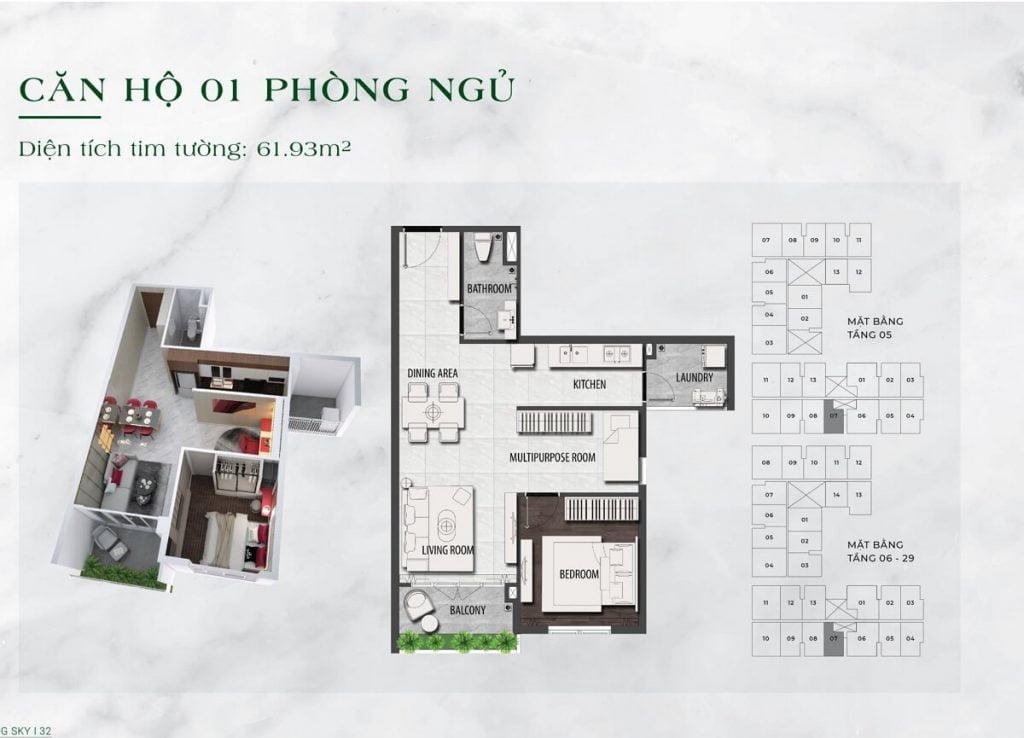 Căn hộ 1PN diện tích 62 m2 tại dự án LDG Sky