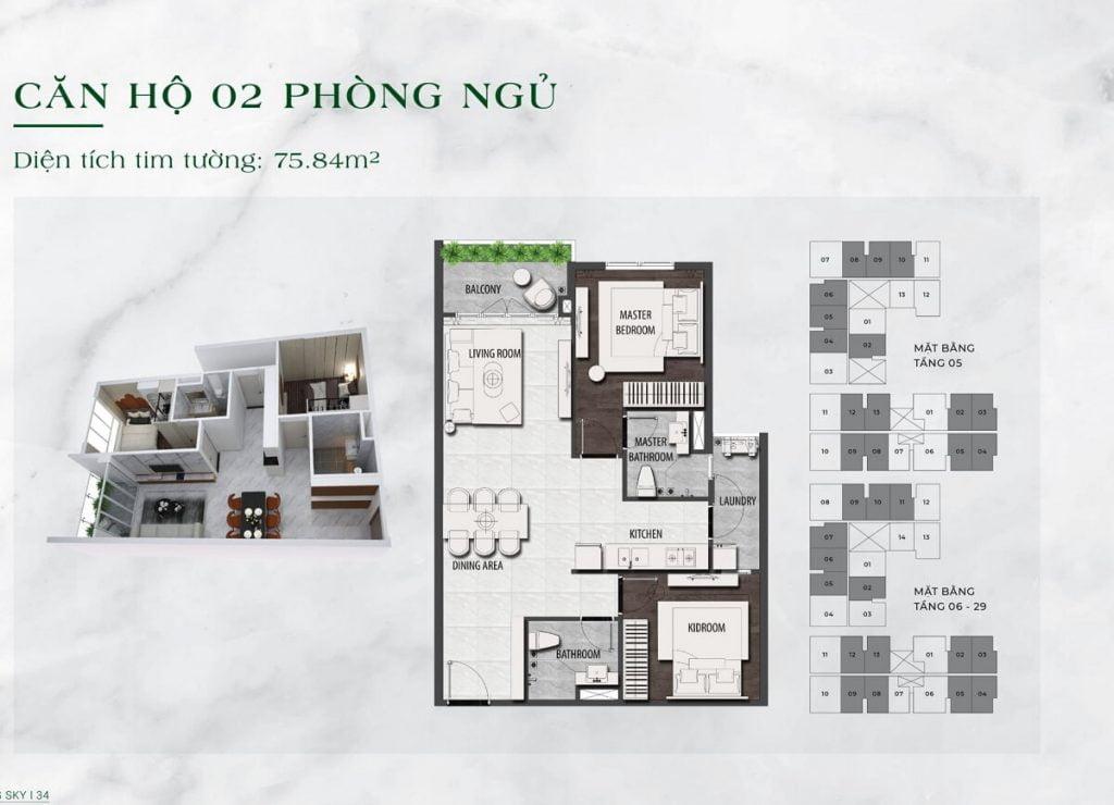 Căn hộ 2PN diện tích 76 m2 tại dự án LDG Sky