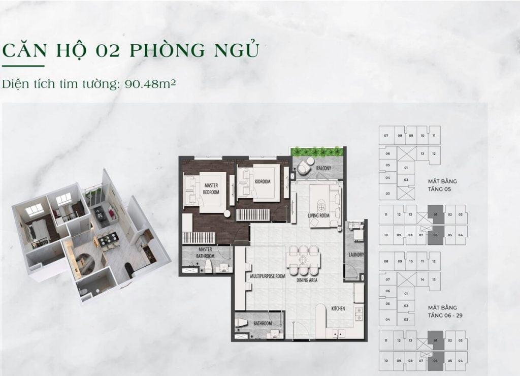 Căn hộ 2PN diện tích 90 m2 tại dự án LDG Sky