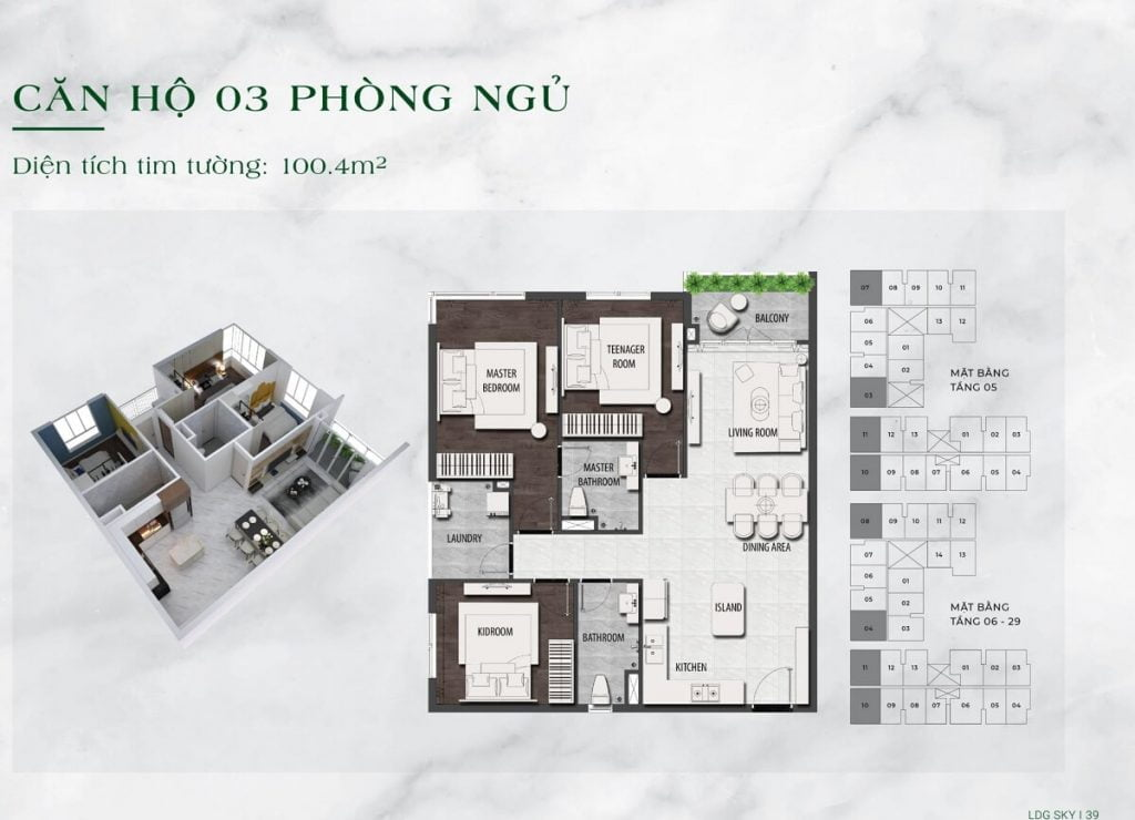 Căn hộ 2PN diện tích 100 m2 tại dự án LDG Sky