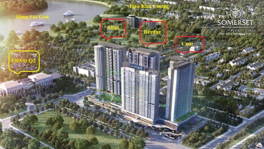 Sơ đồdodo3 tháp căn hộ và 1 tháp dịch vụ của Capitaland