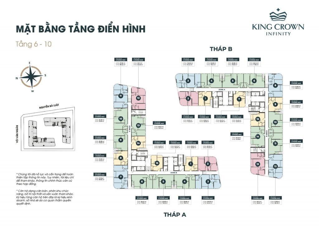Mặt bằng tầng căn hộ King Crown Infinity