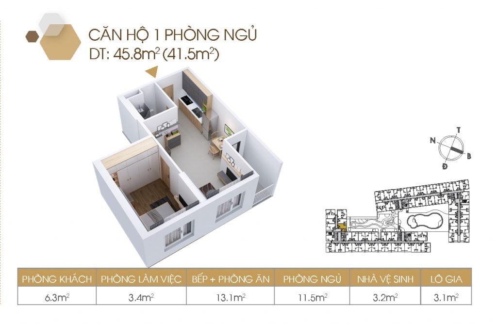 Mặt bằng căn hộ 1PN 45.8m2
