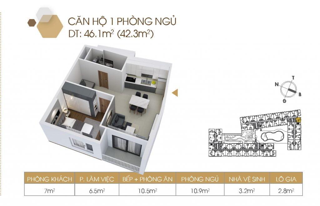 Mặt bằng căn hộ 1PN 46.1m2