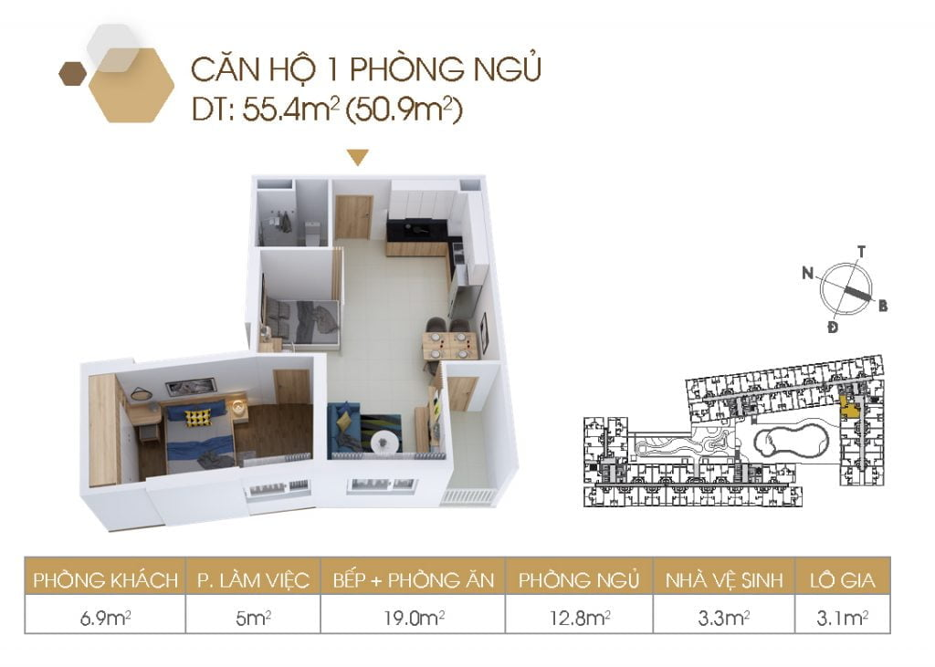 Mặt bằng căn hộ 1PN 55.4m2
