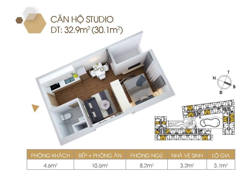 Thiết kế căn hộ Studio 1PN