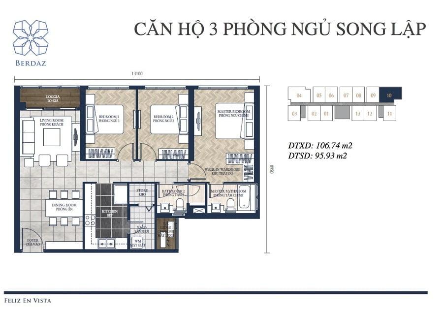 Căn hộ 3PN được thiết kế song lập tại tòa Berdaz