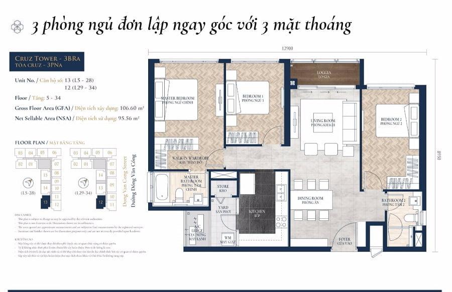 Thiết kế căn hộ 3PN tại tào tháp Cruz