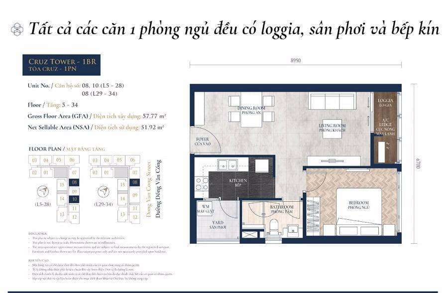 Thiết kế căn hộ 1PN tại tào tháp Cruz
