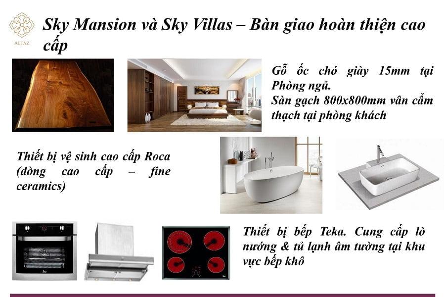 Nội thất bàn giao của Sky Mansion và Sky Villa vô cùng đẳng cấp.