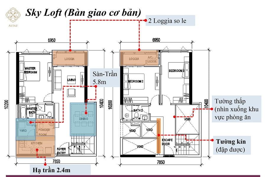 Thiết kế căn hộ thông tầng Sky Loft của tòa Altaz