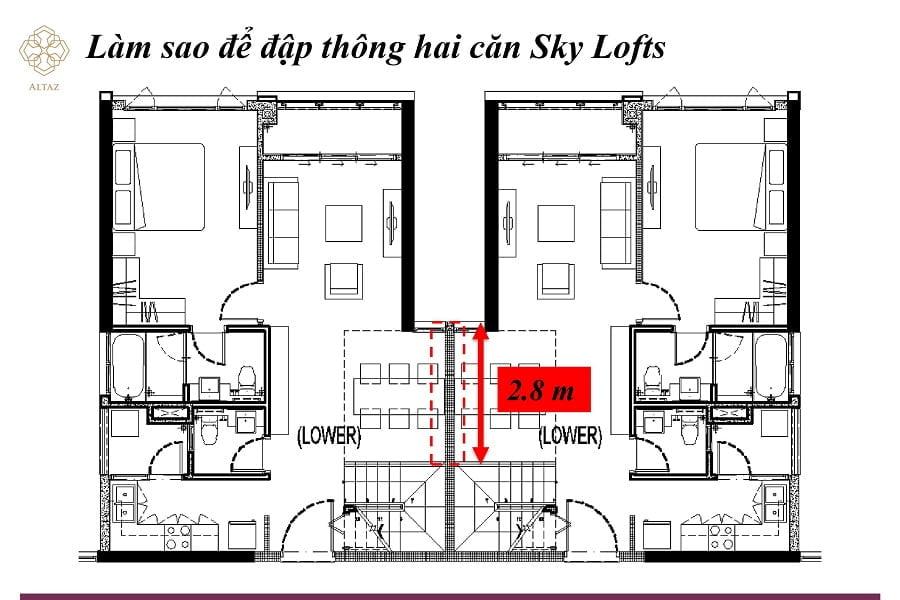 Hai căn Sky Loft cũng có thể thông nhau tạo thành một căn biệt thự khổng lồ trên cao.