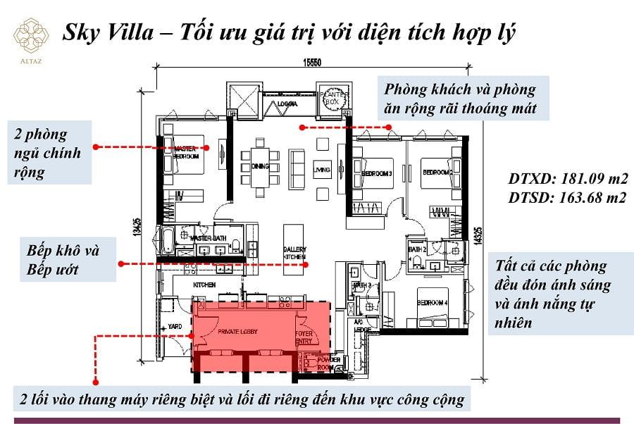 Thiết kế căn hộ Sky Villa tại tòa nà Altaz