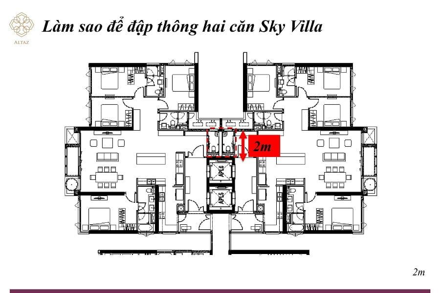 Tương tự bạn cũng sẽ có thể thông 2 căn Sky Villa lại với nhau tại ví trí trên