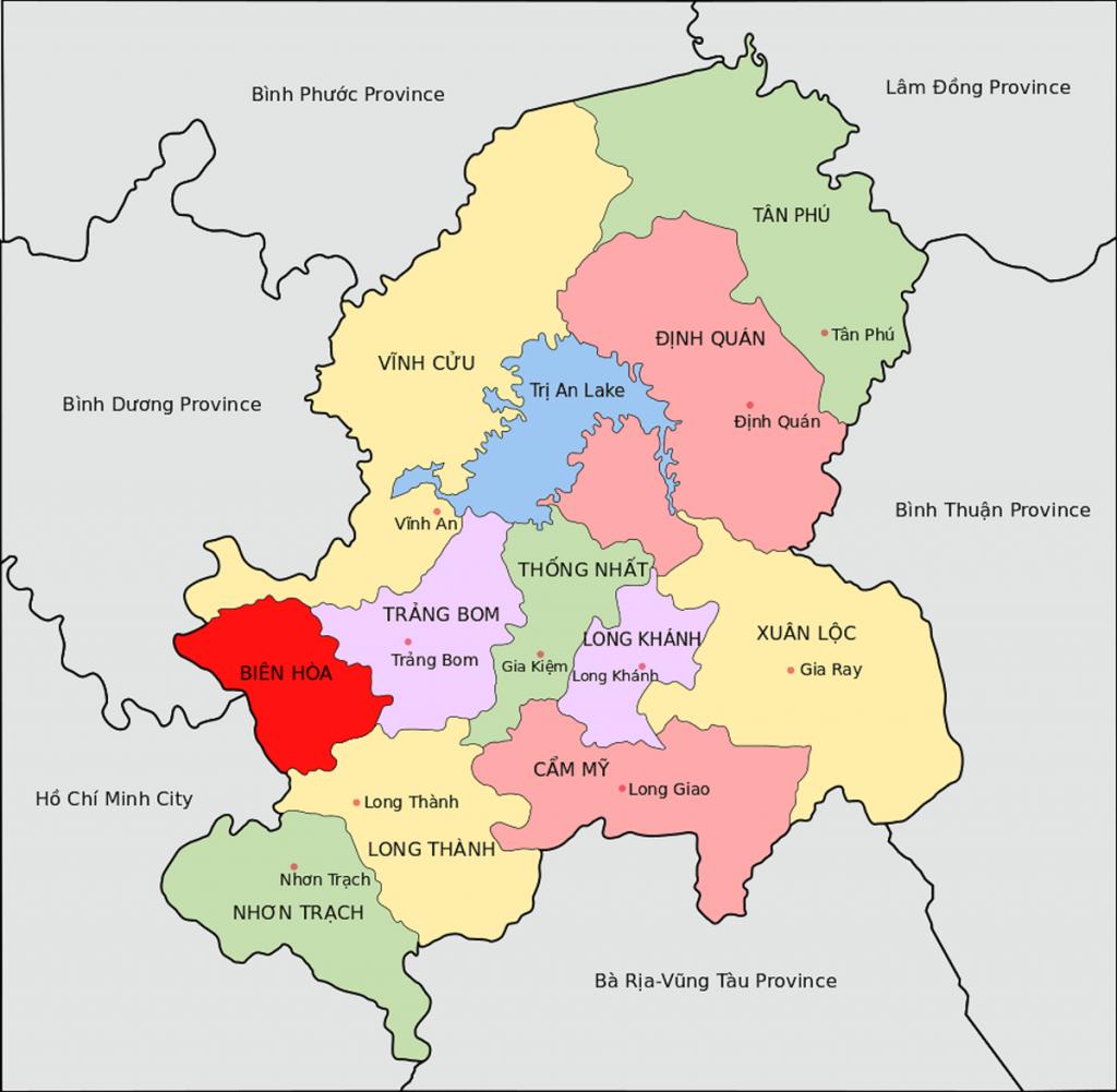 Vị trí Huyện Nhơn Trạch của Tỉnh Đồng Nai