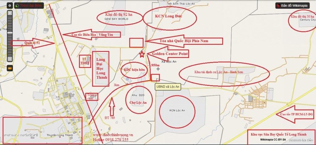 Vị trí đất nền Long Thành Golden Center Point và các liên kết xung quanh