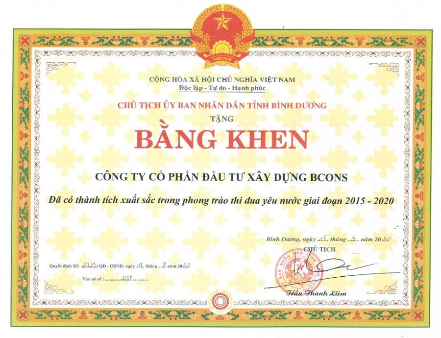 BCONS được chủ tịch UBND tỉnh Bình Dương trao tặng bằng khen