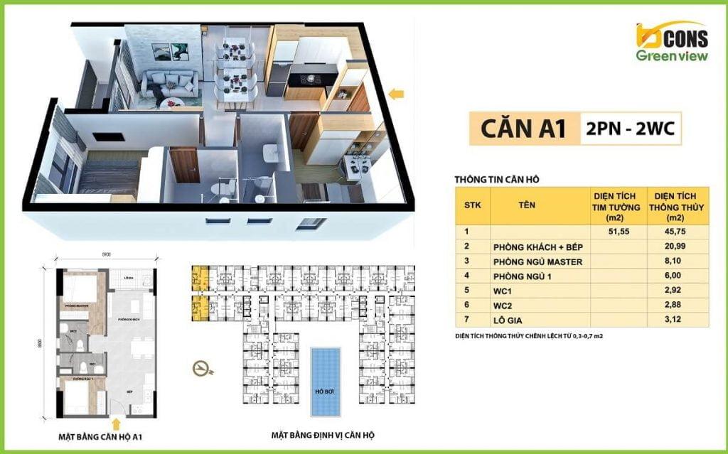 Mẫu căn hộ loại A1 - 2PN 2WC