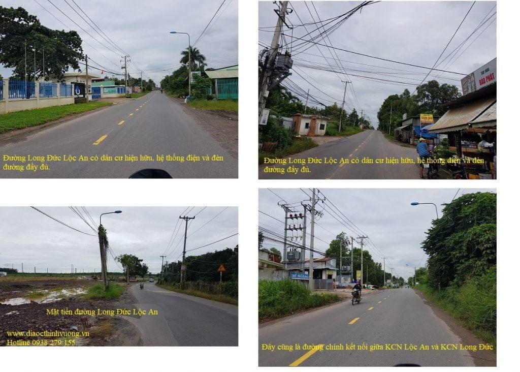 Đường Long Đức - Lộc An có dân cư hiện hữu và hệ thống đèn đường đầy đủ.