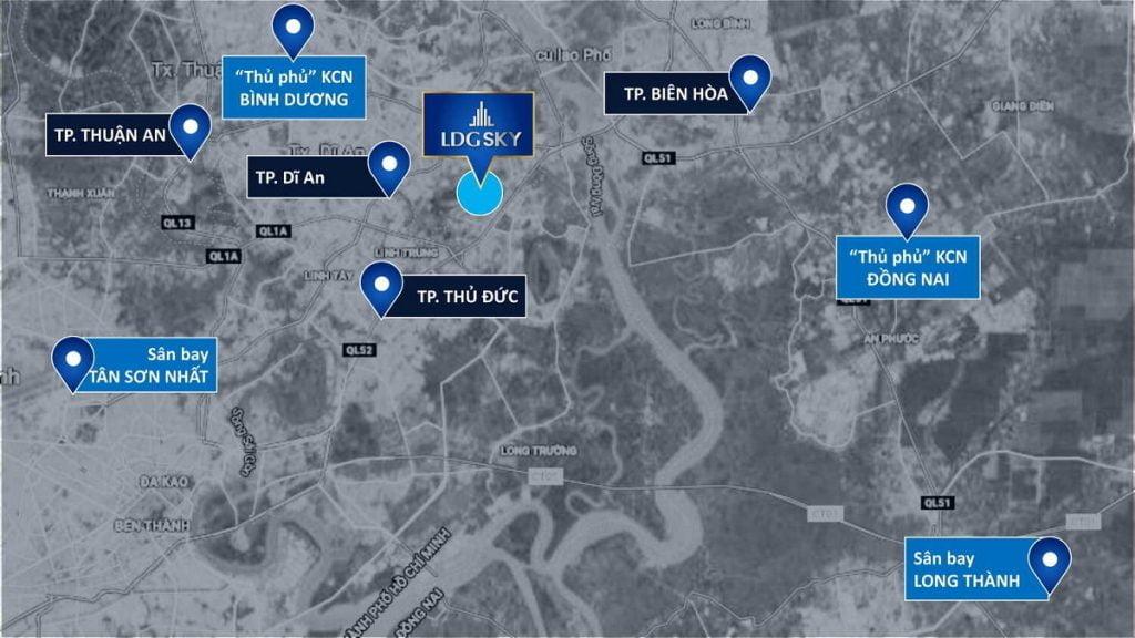 Vị trí căn hộ LDG Sky nằm giữa các thành phố năng động