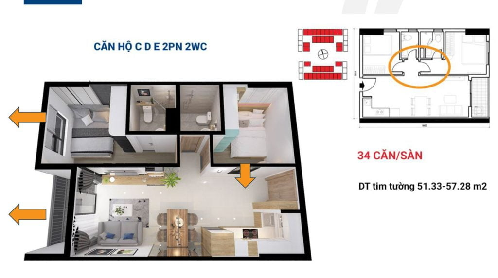 Mẫu căn hộ C - D -E