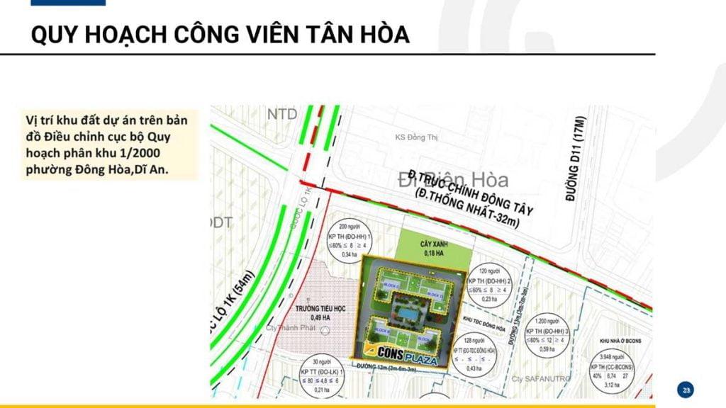 Quy hoạch công viên Tân Hòa ngay trước dự án