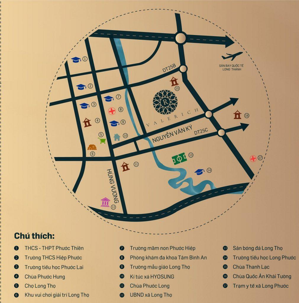 Vị trí các tiện ích ngoại khu trong bán kính 5km của dự án Tiến Lộc Nhơn Trạch