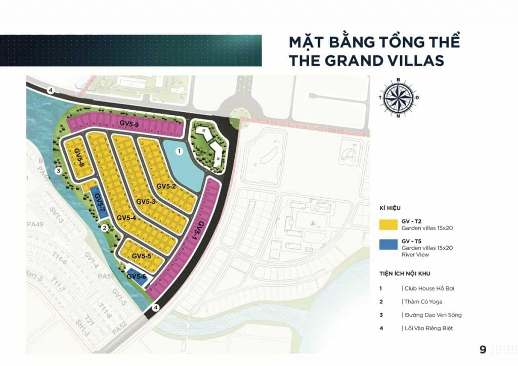Mặt bằng tổng quan phân khu The Grand Villas