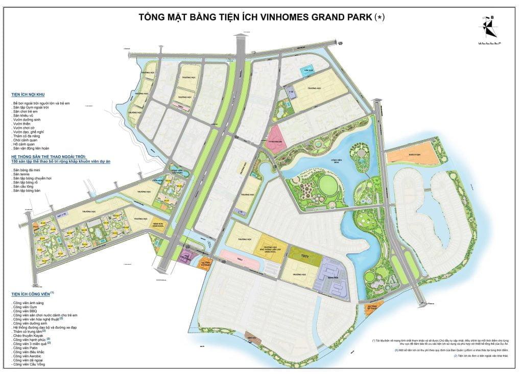 Mặt bằng tiện ích Vinhomes Grand Park