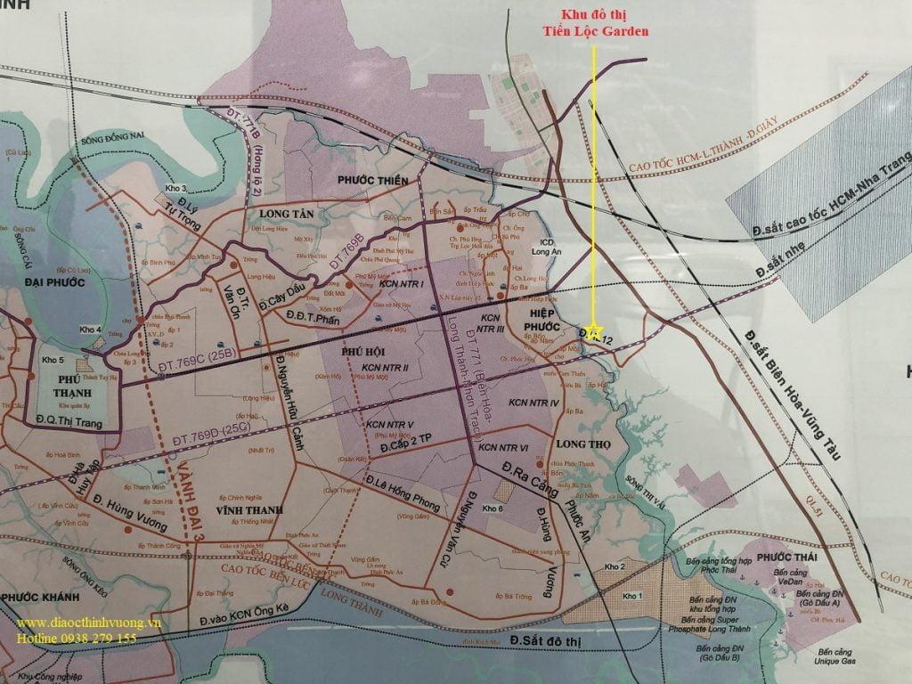 Vị trí Tiến Lộc Garden trên bản đồ quy hoach giao thông của Nhơn Trạch